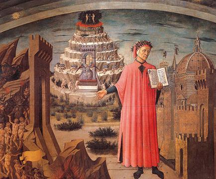 »Dante und die göttliche Komödie«, Fresko von Domenico di Michelino, 1465